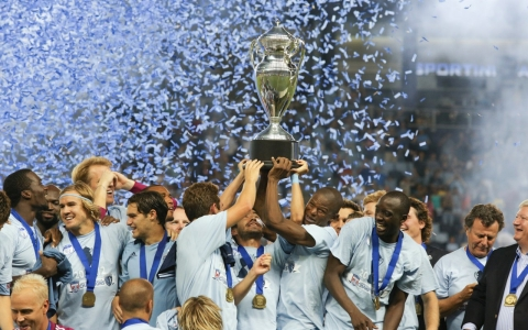 Sporting Kansas City celebrate its 2012 U.S. Open Cup win over three-time champions the Seattle Sounders.