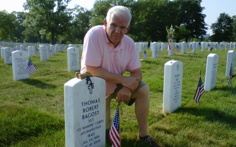 Bagosy at his son's grave in Arlington National Cemetery on Memorial Day 2011.
