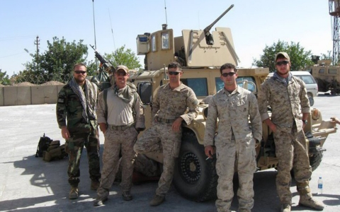 Tommy with fellow Marines in Afghanistan in 2009. He is center.