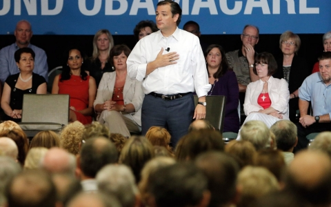 Sen. Ted Cruz, R-Texas, speaks during a town hall meeting in Dallas in August.