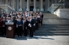 <b>Washington, D.C.</b> House Democrats stand on the U.S. Capitol steps to address the government deadlock Wednesday.