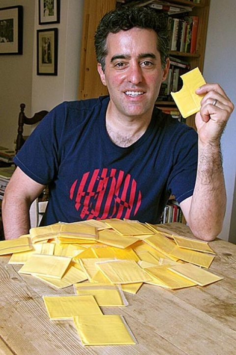 Author Nathan Englander samples some cheese.