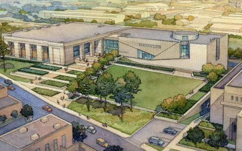 Architect's rendering of the Museum of Mississippi History (at left) and Mississippi Civil Rights Museum (at right) in downtown Jackson, Mississippi.