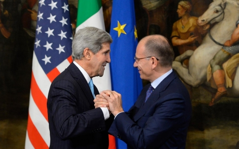 John Kerry and Enrico Letta