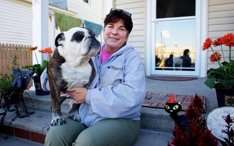 Colleen Vielandi with her dog on Oct. 18.