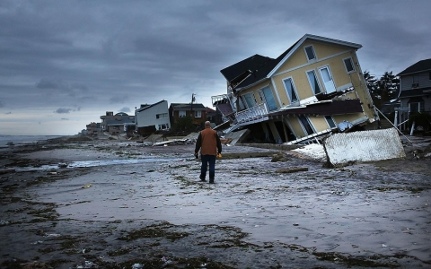 Coastal houses ravaged by Superstorm Sandy.