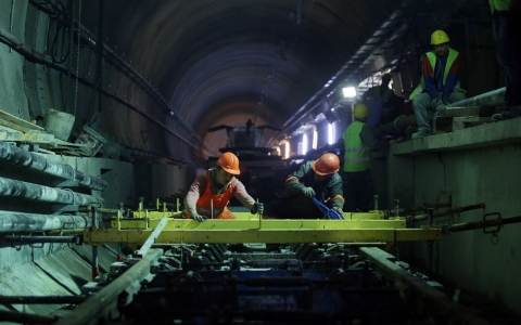 Employees work in the Marmaray Tunnel under the Bosphorus on April 18, 2013, in Istanbul.