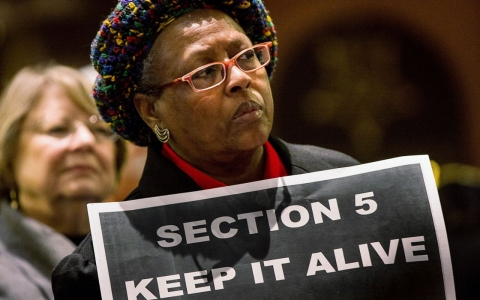South Carolina woman rallies in support of Section 5 of the Voting Rights Act.