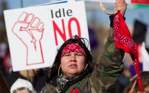 One of the 1,000 Idle No More protesters who gathered on the Ambassador Bridge in Windsor, Ontario, last January and blocked traffic for several hours.