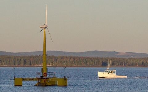 The University of Maine's 9,000-pound off-shore turbine prototype, in Castine, Me., has been generating power since the summer.