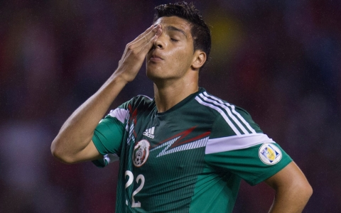 Raul Jimenez of Mexico leaves the field after losing to Costa Rica in a FIFA 2014 World Cup qualifier.