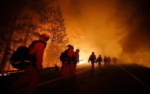 Inmate firefighters walk along a highway near Yosemite National Park, in Calif., after a burnout operation this August to battle the Rim Fire.