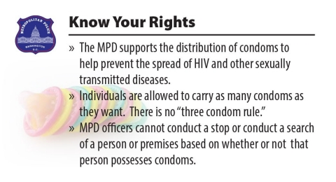 Washington DC 'condom card' used to raise awareness.