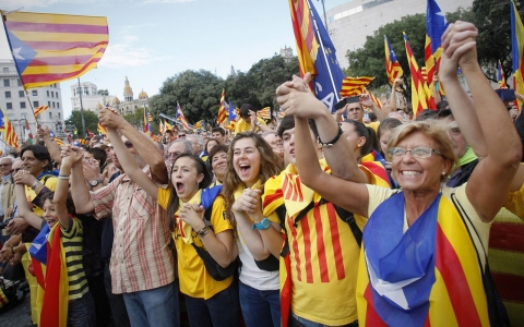 Several hundred thousand people in September demanding an independent Catalonia have joined hands to attempt to form a 400-kilometer (250-mile) human chain