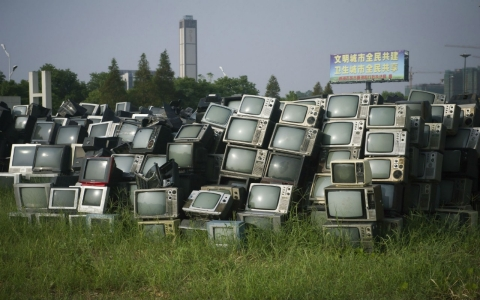 outdated CRT (Cathode Ray Tube) TV sets