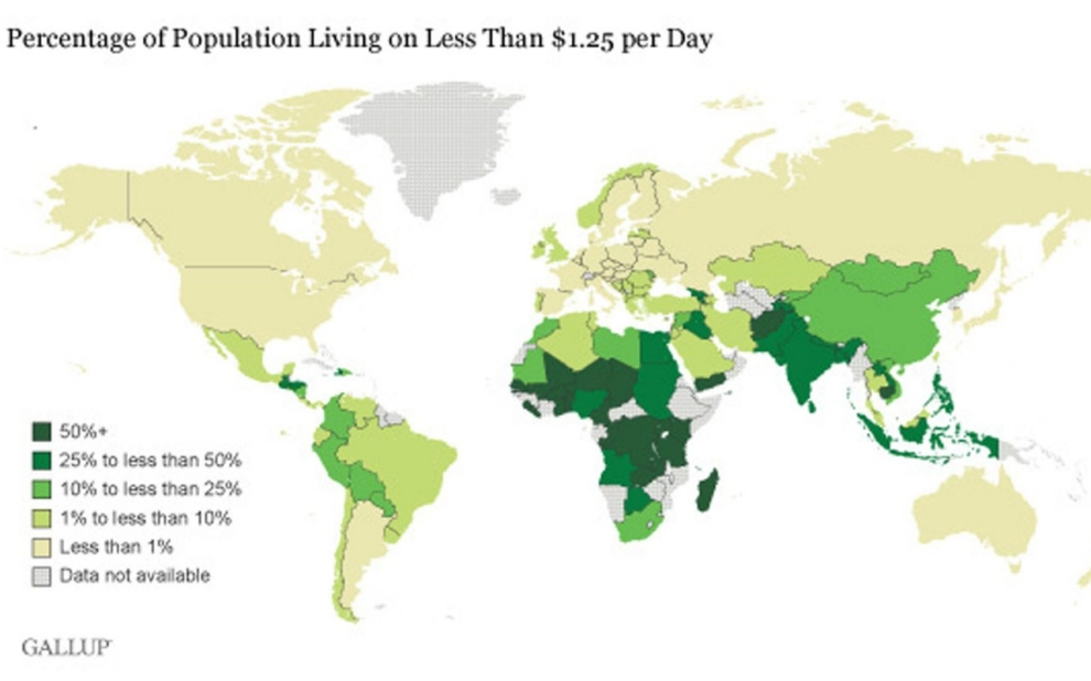 Gallup Study In Worldwide Living In Extreme Poverty Al - Poverty map 2016