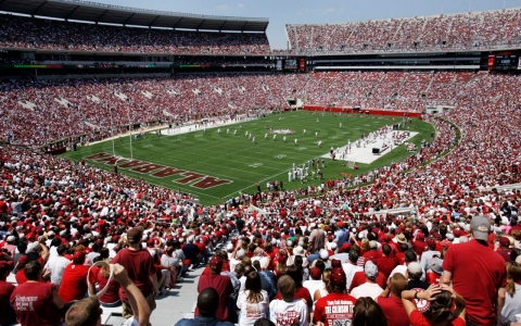 More than 100,000 fans pack the University of Alabama's Bryant-Denny Stadium.