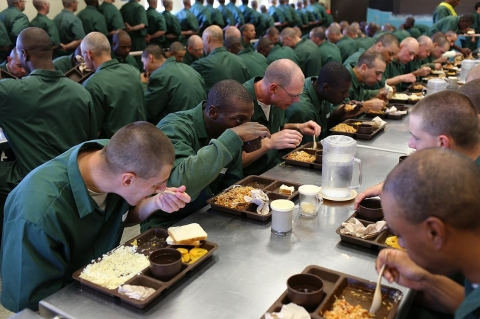 Inmates in the cafeteria at Lakeview