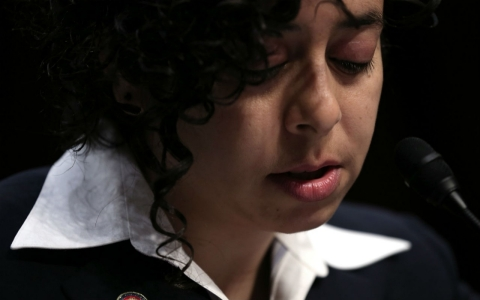 During a hearing on March 13, 2013 in Washington, D.C., former Marine Anu Bhagwati testifies about being sexually assaulted while in the military.
