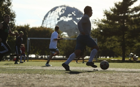A soccer game at Flushing Meadows-Corona Park in the Queens borough of New York, Oct. 1, 2012.
