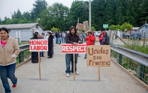 Migrant farm workers on strike against Sakuma Brothers Farms, a large berry grower in northern Washington State.