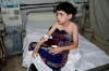 A boy, affected by what activists say is nerve gas, is treated at a hospital in the Duma neighbourhood of Damascus on Wednesday.