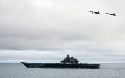 Russian aircraft-carrier Admiral Kuznetsov is seen during a military exercises of the North Fleet, August 2005.