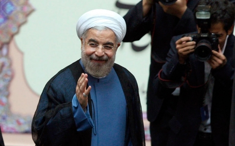 Hassan Rouhani is sworn in as Iran president, August 4, 2013.