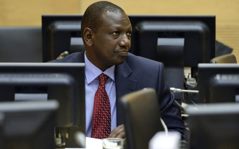 Former Kenyan vice-President William Samoei Ruto looks on during a trial hearing in the International Criminal Court
