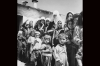 <b>Jordan, 1955.</b> Refugees form a line for food at a camp in Amman. In the aftermath of the 1948 war, many Palestinian refugees relocated to neighboring countries -- Syria, Jordan and Lebanon -- as well as the West Bank and the Gaza Strip.