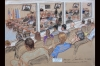Artist Janet Hamlin has been making sketches of the hearings at Guantanamo Bay since 2006. This sketch, made on January 31, 2013, shows the view of the courtroom from the observers gallery. At this moment in the proceedings, General Mark Martins is addressing Commissions judge Col. James L. Pohl.