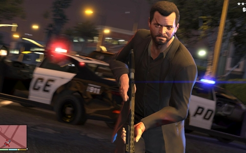 "A screen shot from ""Grand Theft Auto V,"" which hits shelves Tuesday."
