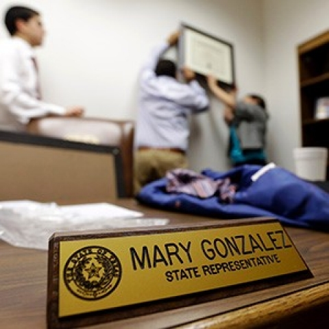The nameplate of State Sen. Mary Gonzalez, show here as she moved into her office in January this year. Her election gave Democrats in the state hope of a blue Texas.