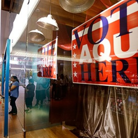 A polling place in Austin, Texas, on Nov. 6 2012. A new voter ID law in Texas could complicate things for Democratic hopes of a blue future.