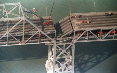 A portion of the Bay Bridge's eastern span collapsed after the 1989 earthquake.