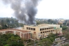 Smoke rises from the building as the Kenyan forces attempt to retake the mall.