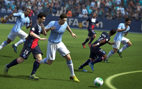 "Paris St.-Germain and Manchester City square off in this screen shot from ""FIFA14,"" which hits stores Tuesday."