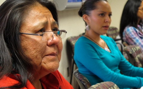 Activist Donna House of Ohkay Owingeh Pueblo, left, participates in a forum on access for American Indian women getting emergency contraception, in Albuquerque.
