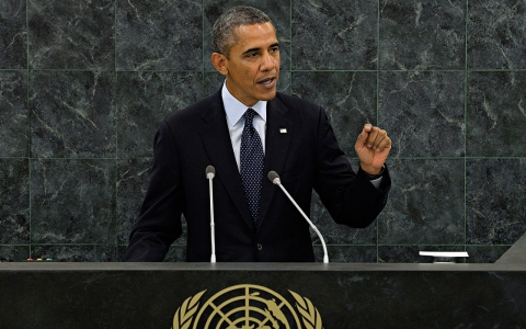 U.S. President Barack Obama addresses the 68th United Nations General Assembly in New York on Sept. 24, 2013.
