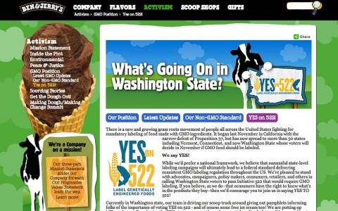 Ben & Jerry's web page in support of the Washington state initiative to label food with GMOs.