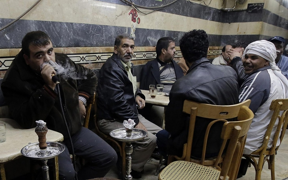 Syrians in a cafe