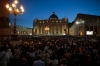 People attend a prayer calling for peace in Syria leaded by Pope Francis in Saint Peter's square at the Vatican