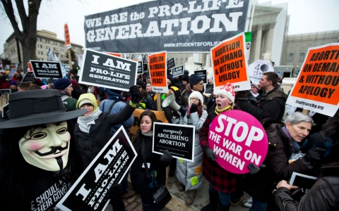 Demonstration of pro-abortion rights activists and anti-abortion rights demonstrators