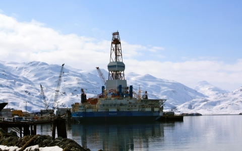 Royal Dutch Shell stored its Kulluk drill rig at a specialized berth in Unalaska, where it was towed after it ran aground in 2012.