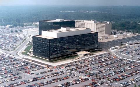 A aerial view of the National Security Agency (NSA) headquarters building in Fort Meade, Md.