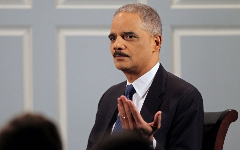 Attorney General Eric Holder speaks at the University of Virginia