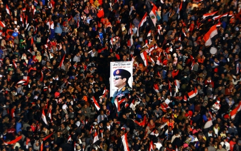 Egyptians supporting Defense Minister Abdel Fattah el-Sisi on Tahrir Square in Cairo, Egypt.