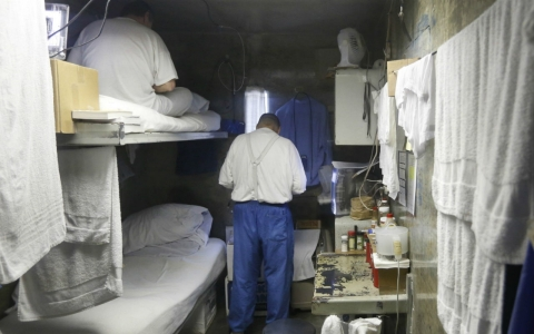In this Feb. 26, 2013 file photo, inmates are seen in a cell at California State Prison.