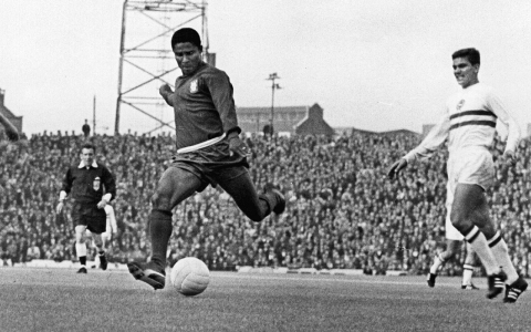 Portugal's Eusebio in action against Hungary in the World Cup Finals, 1966.