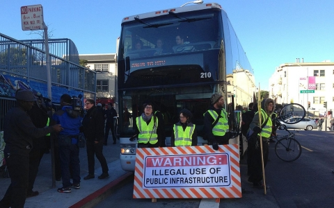 Protesters last month blocked a private bus that takes Google employees from San Francisco to its suburban headquarters.